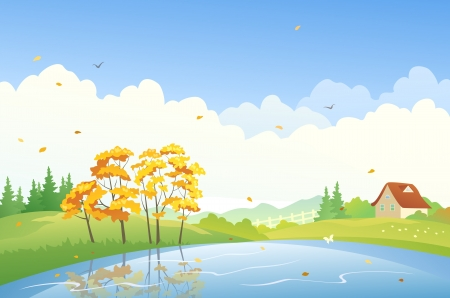 Vector illustration of a fall landscape Vector