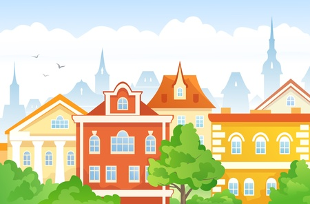 cityview: Vector illustration of an old town