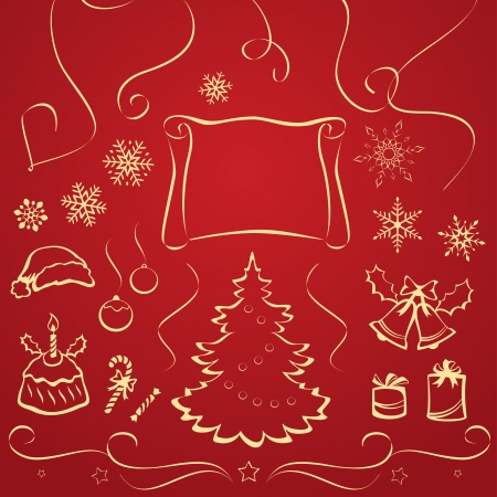 Vector illustration of Christmas design elements  Stock Vector - 21736169