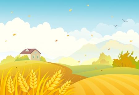 granja caricatura: Ilustraci�n vectorial de un paisaje agr�cola oto�o Vectores