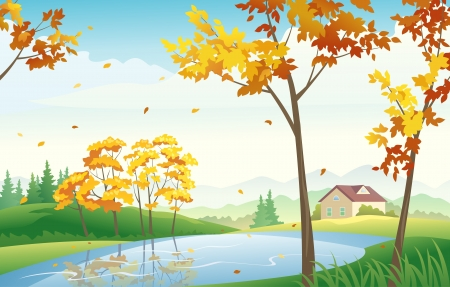 Vector illustration of autumn countryside Stock Vector - 21736153