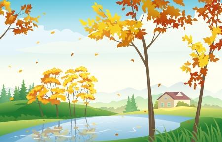 Vector illustration of autumn countryside Stock Vector - 21736153