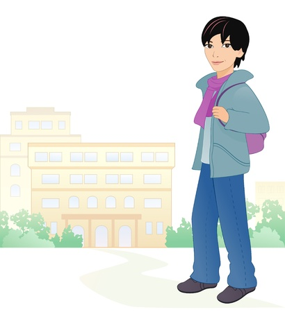 Vector illustration of an asian boy student at the school Vector