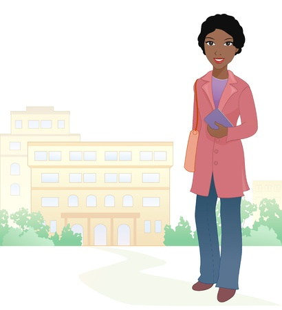 college students on campus: Vector illustration of an african girl student at the school