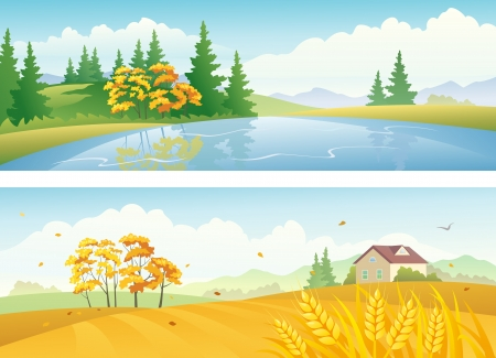 panoramic sky: Vector banners with fall nature landscapes