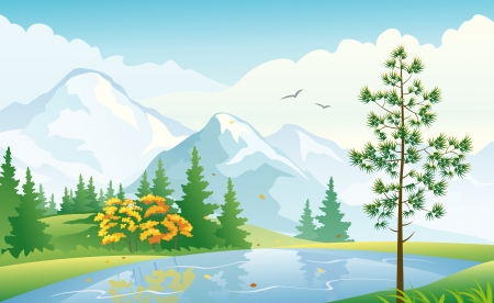 Vector illustration of an autumn forest at the mountains