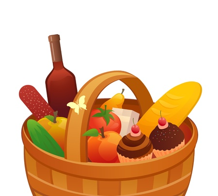 pane e vino: Illustrazione vettoriale di un cestino da picnic Vettoriali