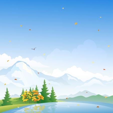 snowcapped mountain: Vector illustration of an autumn lake landscape