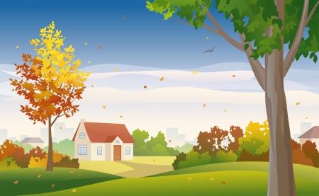 Vector illustration of fall suburbs Vector