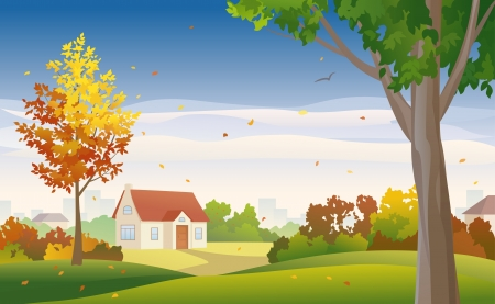 suburbia: Vector illustration of fall suburbs