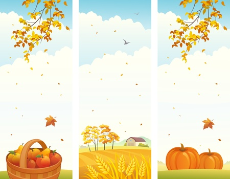 Vector banners with fall vertical landscapes Vector