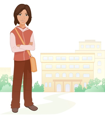 college students on campus: Vector illustration of a brunet boy student at the school Illustration