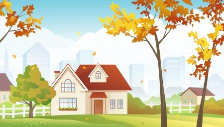 suburbia: Vector illustration of fall suburbs
