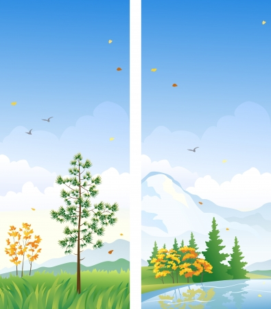 Vector banners with autumn vertical landscapes Vector