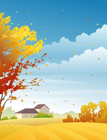 Vector illustration of autumn fields and tree with falling leaves