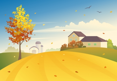 Vector illustration of an autumn farm Vector