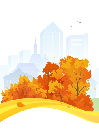 cityview: Vector design with an autumn city Illustration