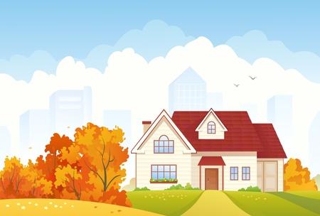 Vector illustratie van een herfst huis in de voorsteden Stock Illustratie