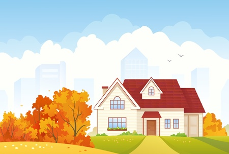 suburban house: Vector illustration of an autumn suburban house