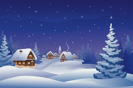 firs: Vector illustration of a snowy Christmas eve in the village Illustration