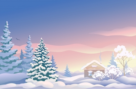 mas: Vector illustration of a beautiful Christmas landscape with a house