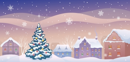 cityview: Vector illustration of a snowy Christmas town