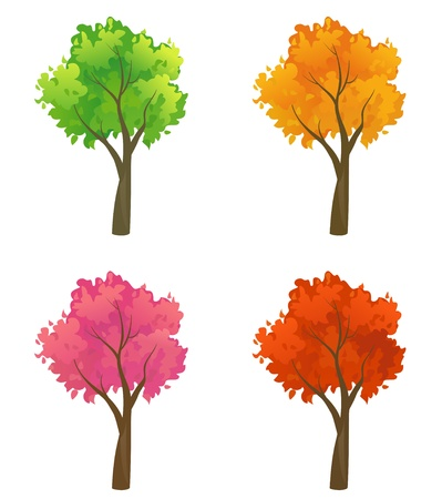 autumn trees: Vector set of colorful trees