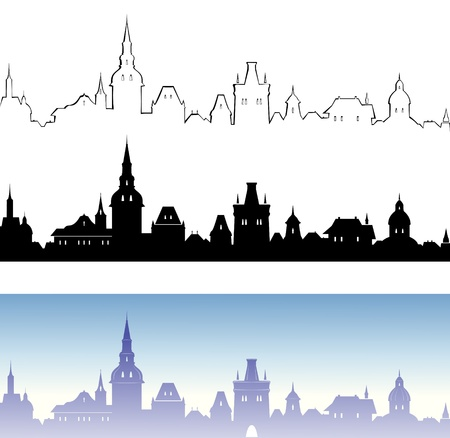 Vector banners with an abstract old European town Stock Vector - 22175210