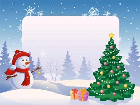 Vector illustratie van een sneeuw man versieren van een boom op een leeg frame