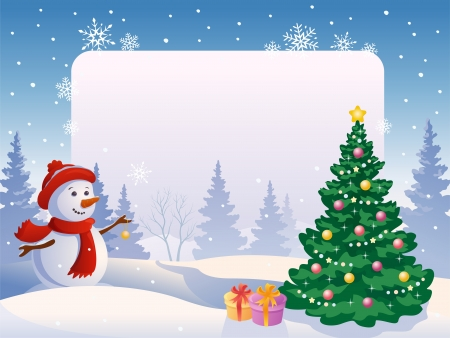 Vector illustration of a snow man decorating a tree at a blank frame Illustration