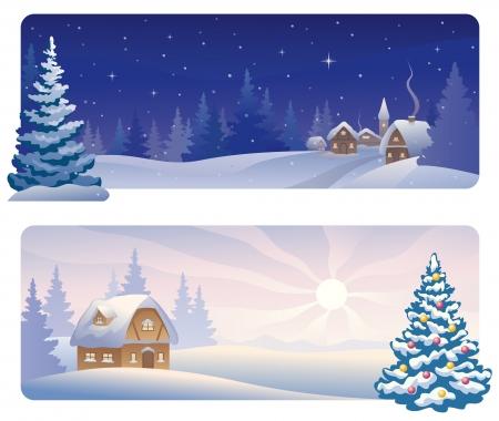 Vector banners met een besneeuwde nacht dorp en een kerstochtend huis Stock Illustratie