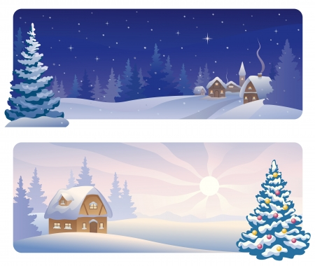 Vector banners with a snowy night village and a Christmas morning house