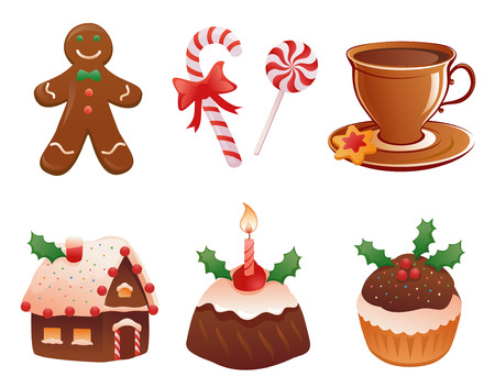 muffins: Vector collection of traditional Christmas desserts, isolated on white