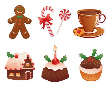 Vector verzameling van traditionele kerst desserts, geïsoleerd op wit