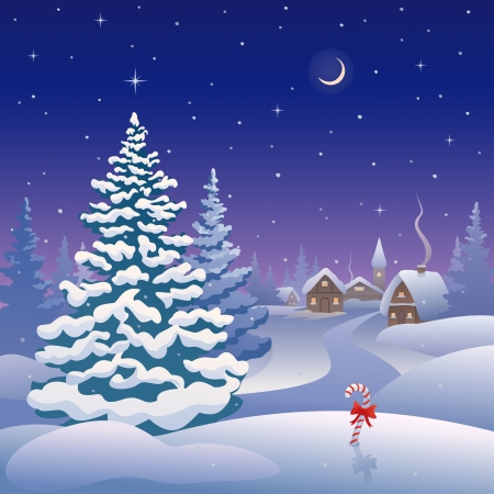 winter scene: Vector Christmas card with a snow-covered village Illustration