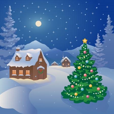 Vector illustratie van een besneeuwde kerstnacht dorp op de bergen Stock Illustratie