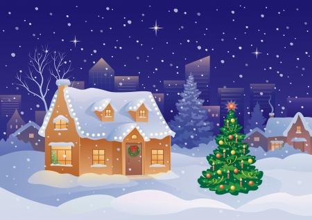 Ilustración vectorial de un suburbio de Navidad cubierto de nieve