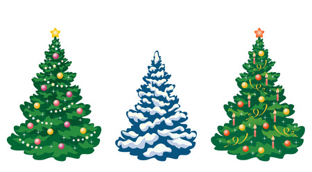 christmas tree set: Vector collection of cartoon Christmas trees
