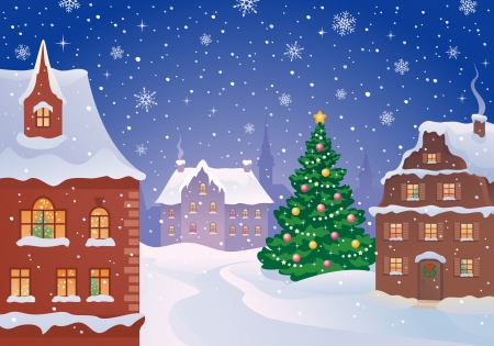 Vector illustration of a snowy old town with a decorated Christmas tree Vector