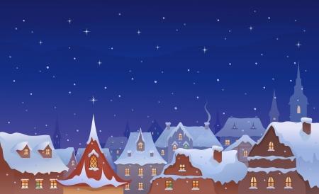 雪に覆われた古い町の屋根のベクトル イラスト