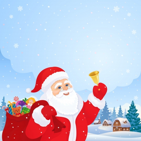 x mas: Vector Christmas card with Santa Claus ringing the bell, with a village on the background Illustration