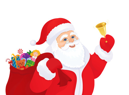 ringer: Vector illustration of Santa Claus ringing the bell, isolated on white