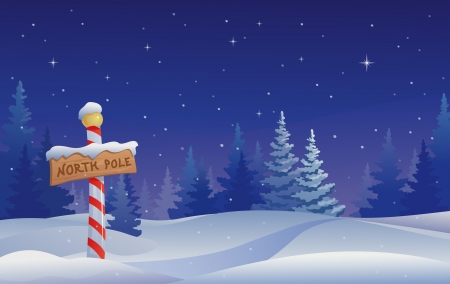 non urban scene: Vector Christmas illustration with a North Pole sign  Illustration