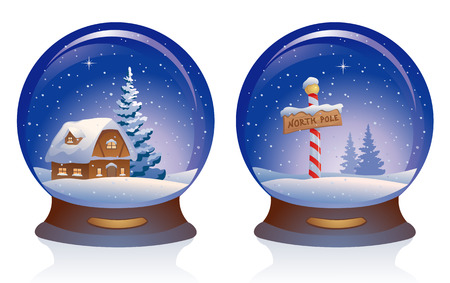 snowdome: Vector illustration of snow globes, isolated on white