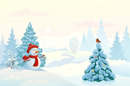 snowscape: Vector pastel colored illustration of a snowman decorating a fir tree in a morning wood