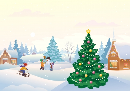 Vector illustration of kids making a snowman and other winter fun outdoors  Vector