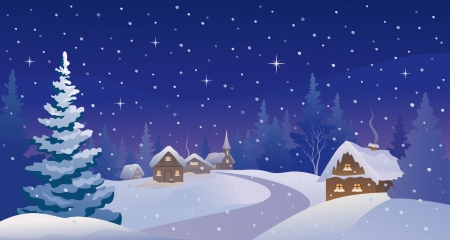 Vector illustration of a beautiful Christmas eve scenery Vector