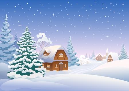 Ilustración vectorial de una aldea cubierta de nieve
