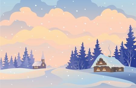 Vector illustration of a winter Christmas landscape Illustration