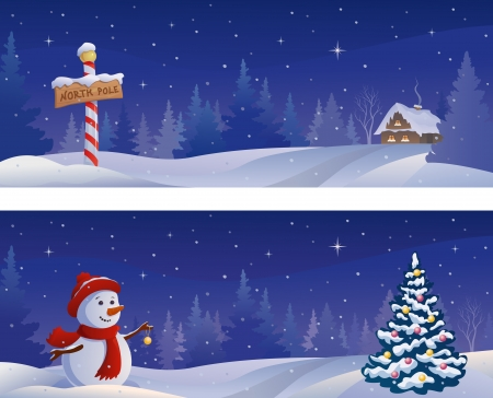 christmastide: Vector Christmas night snowy banners with a snowman and a North Pole sign